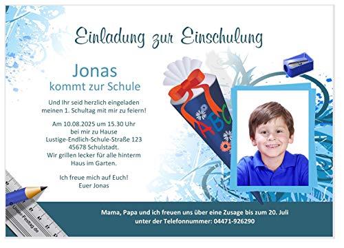 Unser-Festtag Einschulung Motiv Schultüte Einladungen für Einschulung Jungen Mädchen Kinder lustig cool lustig witzig, Text ändern - 80 Karten - DIN A