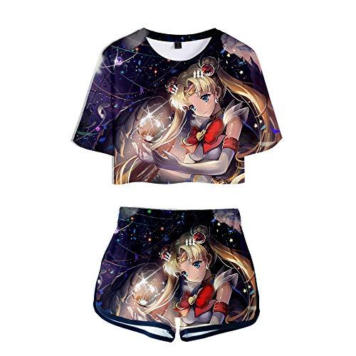 SailorMoon T-Shirts und Hosen Set Sportswear-Sets Top & Kurze Höschen Bekleidungssets Sportbekleidung