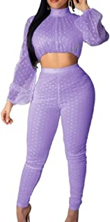 FSSE Women Two Pieces Polka Dot See-Through Tops and Pants Tracksuit Set