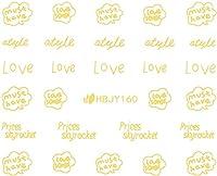 ネイルシール アルファベット 文字 パート2 ブラック/ホワイト/ゴールド/シルバー 選べる44種 (ゴールドGP, 23)