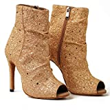 URYZE Women's Ballroom Dance Shoes Open Toe Gold Sequins 3.3 Inch Stiletto Heel Performance Dance Boots