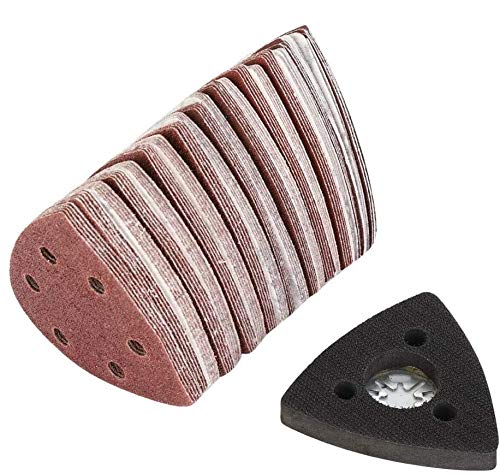 100 Stück Delta Schleifdreiecke, 80mm Dreieckige Schleifpapier Fein Dreieckschleifer Schleifpapier mit 1 Sandpad 60# 80# 120# 180# 240#