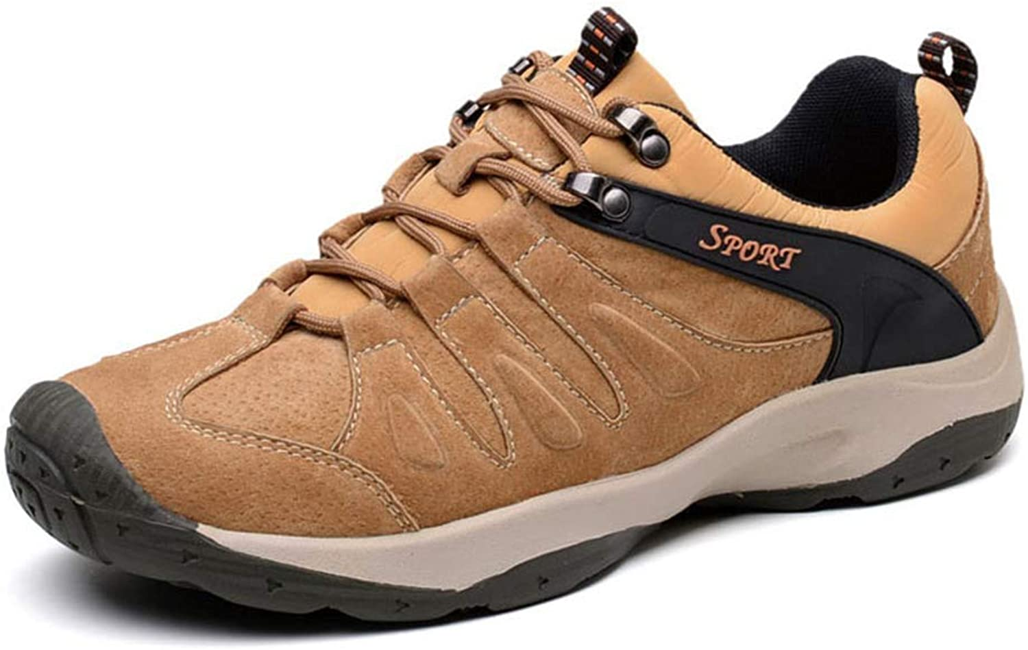 ZHRUI Men Leather Casual Sneakers Spring Autumn Male Walking Comfortable Non Slip Footwear (color   Brown, Size   9 UK)