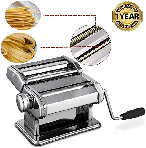 Oppikle Pasta Maker Machine,Hand Crank Noodle Maker Stainless Steel Noodles Cutter with Clamp for Spaghetti Lasagna Tagliatelle Walze Maschine mit Cutter für Frische Spaghetti Tagliatelle Fettuccine