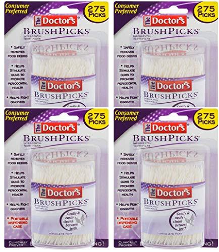 The Doctor's BrushPicks Interdental Toothpicks, 1,100 Picks, 4 Pack of 275 Picks