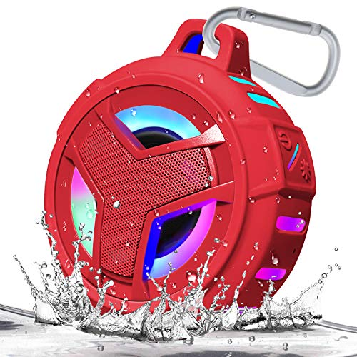 Bluetooth Shower Speaker, EBODA Waterproof Bluetooth Portable Speakers IP67 Floating, TWS Bluetooth 5.0 Speaker with Enhanced Bass, 2000mAh with LED Light Show for Shower, Pool, Beach, Hiking - Red