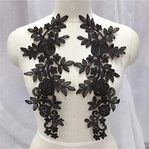 Qingsb naaien kant stoffen 2 paar 14 * 35cm kleuren ganza borduurwerk bloem grote kant applique voor trouwjurk bruidsjurk, zwart