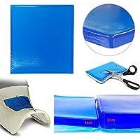 PJhao - Almohadilla de Gel para Asiento de Motocicleta, absorción de Impactos, Reduce la Fatiga, cómoda y Suave, cojín de Tela de enfriamiento, Accesorios de Color Azul Fresco (25 x 25 x 2 cm)