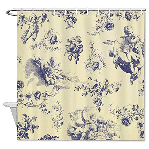 VinMea Shower Curtain,Blue Toile French Country Cherub Pattern,Home Bathtub Polyester Fabric Shower Curtain for Bathroom Decor,Waterproof Washable,72x72''