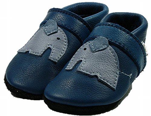 Mopu's® Krabbelschuhe - ÖKOLEDER - Exklusiv in blau mit hellblauem Elafant - handgemachte Markenqualität aus Deutschland