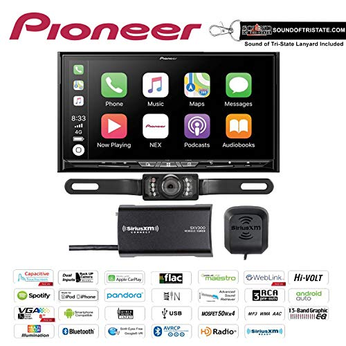 Pioneer AVIC-W8500NEX in Dash 6.94' DVD Navigation Receiver with SiriusXM SXV300V1 Satellite Radio Tuner and Antenna and a License Plate Backup Camera and a Sound of Tri-State Lanyard Bundle