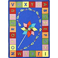 Joy Carpets Kid Essentials Early Childhood Alphabet Pinwheel Rug, Multicolored, 5'4 x 7'8 by Joy Carpets