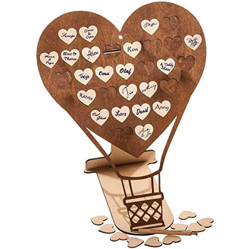 Spreukenband premium kwaliteit 100% emotioneel · gastenboek van hout voor bruiloft · hartvormige ballon met 30 houten hartjes om te beschrijven · gastenboek voor bruiloft · doop · jubileum · feest · verjaardag