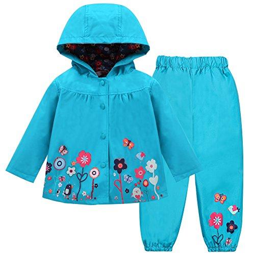 LZH Mädchen Kinder Regenjacke mit Kapuze Regenhose 2pcs Bekleidungsset (3-4 Years(110), Blue)
