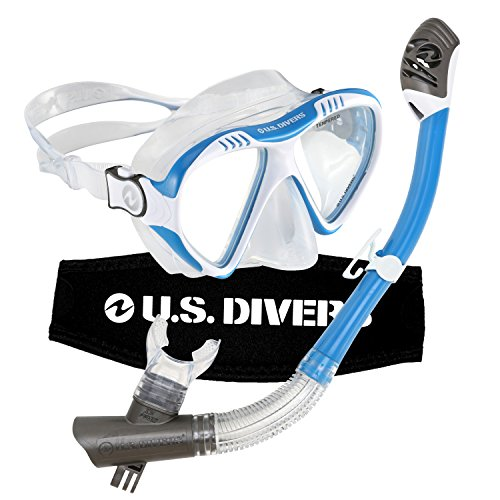 US Divers Magellan LX Dry Snorkeling Set Blue/white Compatible with GoPro