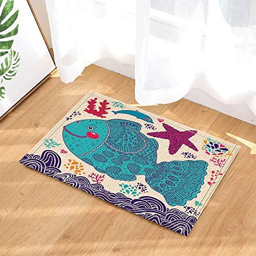 Gohebe Fish Decor Big Blue Fish in mare con stella marina del fumetto bagno tappeti antiscivolo zerbino Floor Entryways indoor outdoor anteriore zerbino tappetino bagno bambini 15.7x23.6in bagno.