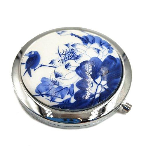 Pocket Spiegel für Damen für Mädchen kleinen Spiegel Pocket Größe Lupe Make-up Compack Doppel-Spiegel Keramik Traditionelle Chinesische Design Reise Handtasche Spiegel Blau und Weiß Porzellan