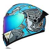 Casco moto doppia lente auto sportiva casco integrale casco integrale moto-Orangutan blu (specchio colorato) _S