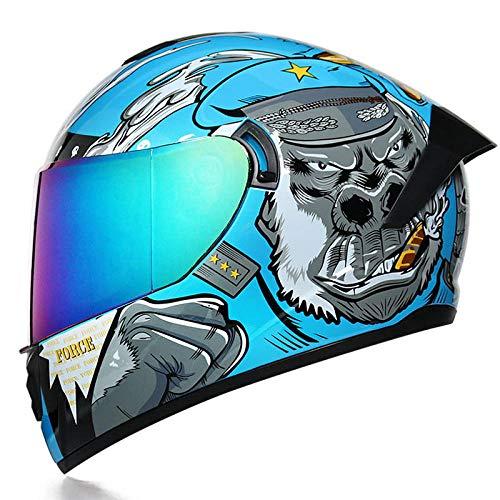 Casco moto doppia lente auto sportiva casco integrale casco integrale moto-Orangutan blu (specchio colorato) _M