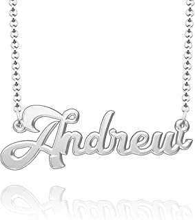Moonlight Collections Custom Name Necklace Silver 925 Personalized Nameplate Pendant
