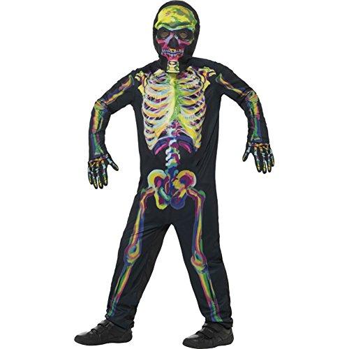 Smiffy's - kinderen unisex skelet kostuum, licht in het donker, full-body pak, masker en handschoenen, meerkleurig Tween veelkleurig