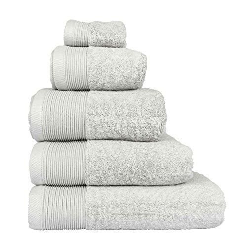 Homescapes–Asciugamano Suprema lusso morbido e assorbente in cotone egiziano Grigio Argento 700g/m², cotone egiziano, grigio argento, Serviette inv