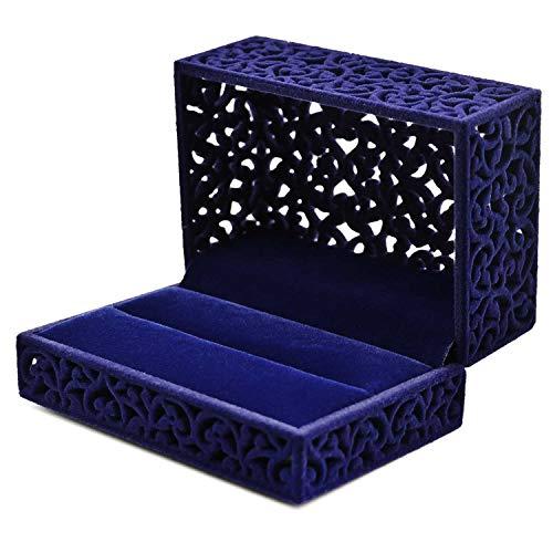 HuWei Caja de Anillo Hueca Cuadrada de Terciopelo, Caja de Regalo para Anillo de Boda, joyero para Compromiso de proposición, Azul Real, Couple Rings