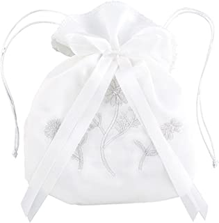 Sacred Traditions White Satin First Communion Drawstring Purse with Embroidered Flowers and Bow, 7 Inch
