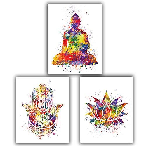 Art Print Set of 3 Posters 8'X10' Canvas| Environmentally Friendly Vintage Color Buddha Lotus Bergamot for Xuanguan Living Room Decoration Painting ,【Note:Frameless】 Please Prepare The Frame