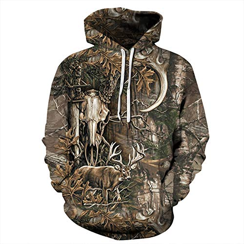 Zaima Men Hoodie Camo Hunting Animals Deer Art 3D Hoodies Women Streetwear Hooded Sweatshirt Long Sleeve Casual Pullover Printed Outdoor