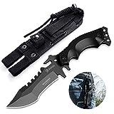 NedFoss Outdoor Survival Messer, Camping Gürtelmesser, Überlebensmesser Survival Bushcraft Messer, Premium Qualität, schwarz (A-schwarz)