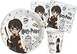 Ciao- Kit Mesa Fiesta Party Harry Potter de papel compostable FSC para 24 personas (78 piezas: 24 platos Ø23cm, 24 vasos, 30 servilletas), Y6167
