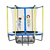 QLMUSE 6FT 8FT Trampoline with Enclosure Net Outdoor Recreational Trampoline for Kids with Wind Stakes and Ladder Heavy Duty Shoes Bag for Teen Adult Family Backyard (6FT)