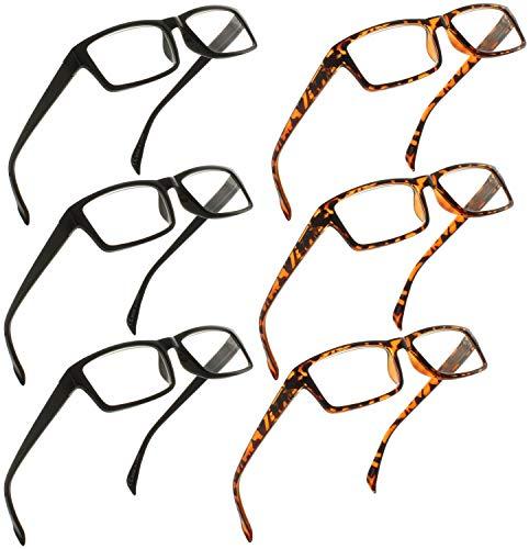 Fiore 6 Pack Spring Hinge Reading Glasses for Men & Women [2.00]