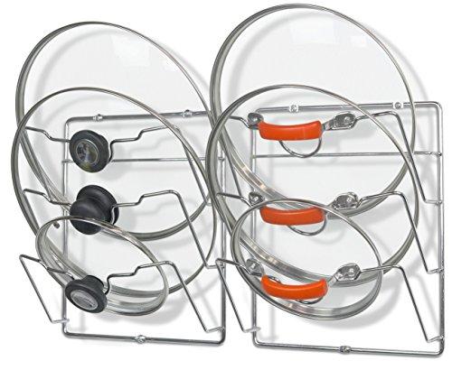 2 Pack - Simple Houseware Cabinet Door  Wall Mount Pot Lid Organizer Rack Chrome
