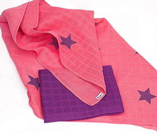 divata bunte Mullwindeln 2er Set - (Sterne, Beere) - farbige Mulltücher, Spiel-tücher, Baby Spucktücher aus 100% Baumwolle, Oeko-Tex-Zertifiziert, 80x80 cm