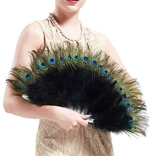 ArtiDeco - Ventaglio da mano anni '20, in piume di pavone e marabù, pieghevole, vintage, per feste a tema/costume/decorazione Nero