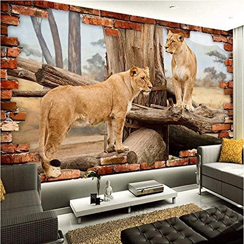 3D Tapete Effekte Loch, Geparden Tier Fototapete Modern Vlies Riesiges Bild Wohnzimmer Schlafzimmer Jugendzimmer Dekoration (150x100cm, Löwen)