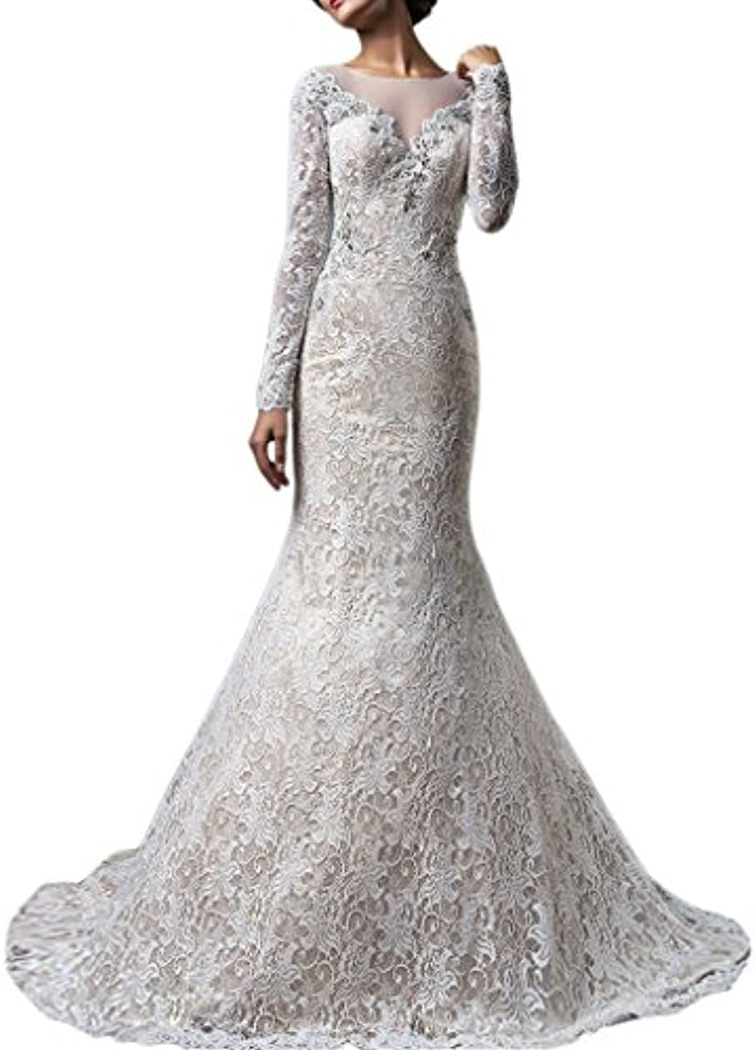 Beilite Women's Long Sleeves Mermaid Lace Wedding Dresses with Appliques