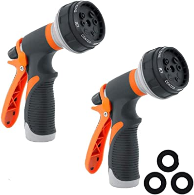 Water Hose Nozzle Garden Hose Nozzle Hose Spray Nozzle Leak Free High Pressure Heavy Duty 8 Pattern for Watering Plant Washing Cars Pets Shower (2PACK Yellow)