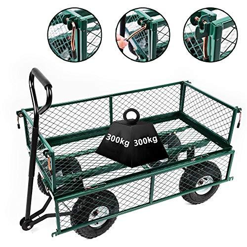 Gyj&gyt Großer Gartenwagen, Hochleistungsklappwagen aus Stahl, Fahrradanhänger mit Einer Kapazität von 300 kg, 4-Rad-Innenverkleidung für den Transport eines Einrads