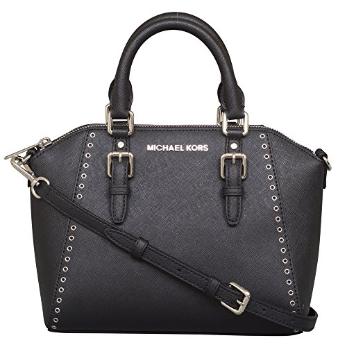 """Made of Saffiano Leather and Silver hardware Grommet detailing on the front and back Double rolled leather handles and a removable, adjustable shoulder strap Top zip closure and two interior pockets 9.75""""W x 8""""H x 3.5""""D - Drop = 4 and 25"""""""