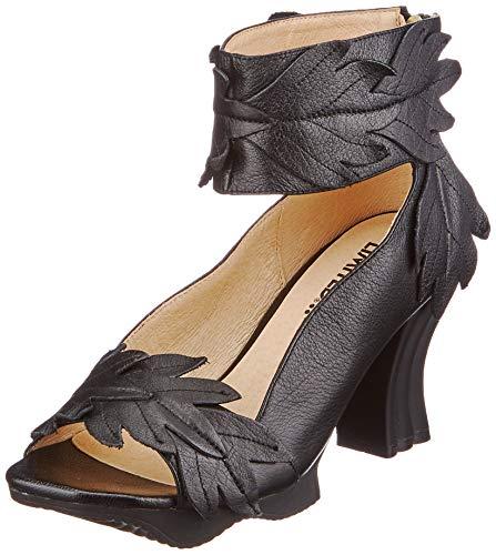 LAURA VITA, FRCIDAO 100, Sandales Cuir Femmes, Chaussures de Ville Été, Semelle Confortable - Style Original Fleurs, Noir (Numeric_40)