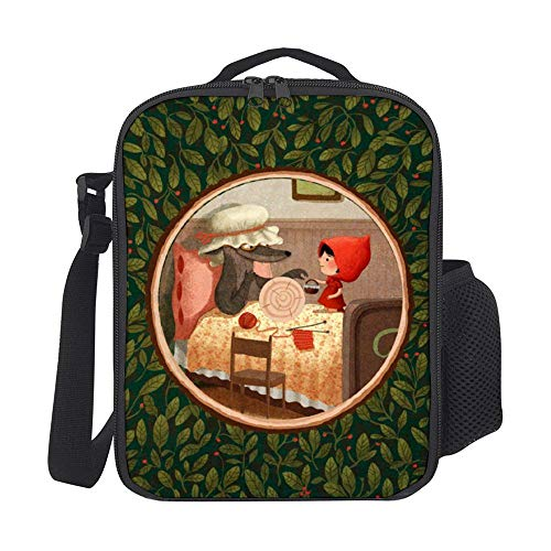 Reusable Lunch bag Little Red Riding Hood And Granny Wolf Illustration Lunch bag with Padded Liner and Shoulder Strap for Adults Boys Girls Men Women