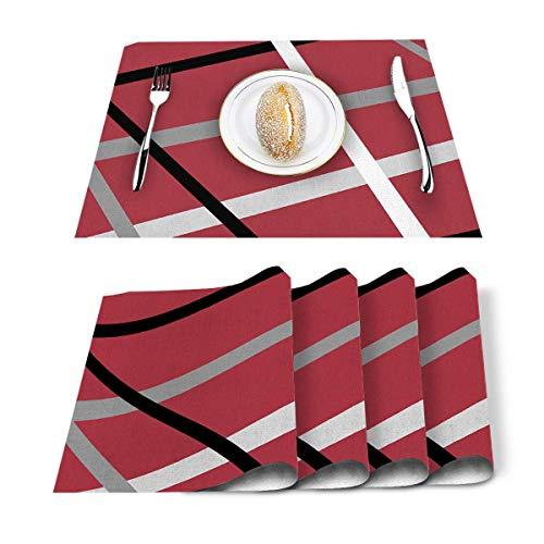 Tapetes De Mesa,Cuadrados Irregulares Vintage Líneas Mantel Rojo, Manteles Personalizados para Restaurante Comedor Decoración,Set of 6
