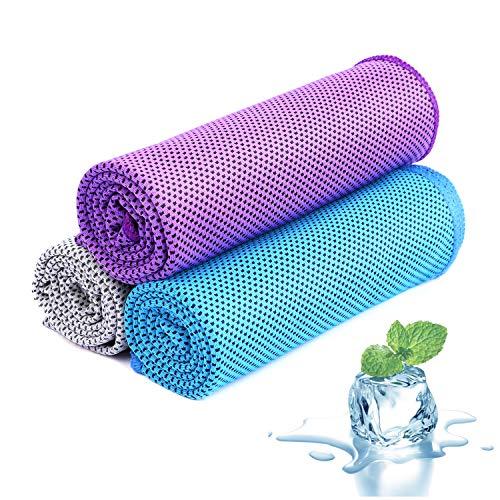 Toallas refrigerantes de toalla, toalla fría, toalla, juego de toallas de bambú, toalla de microfibra, toalla de playa, gimnasio, 100 x 30 cm, Azul, púrpura, gris., 100x30cm