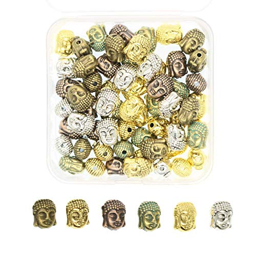 60pcs Mixed Color Buddha Head Beads Charms for DIY Necklace Pendants Bracelets Jewelry Making Finding Beads