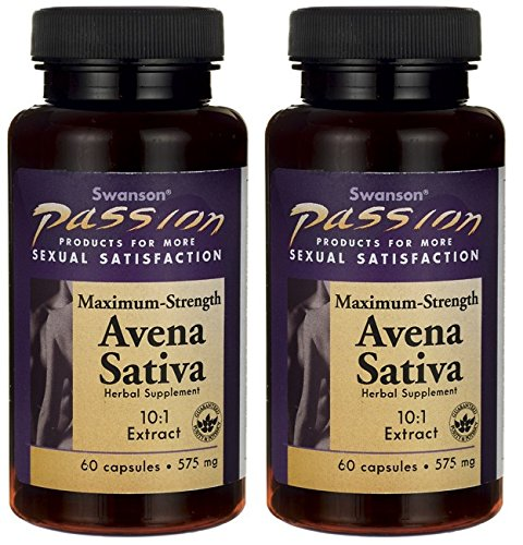 Swanson Passion Maximum Strength Avena Sativa 10:1 Extract 575mg - 2 Bottles Each of 60 Capsules
