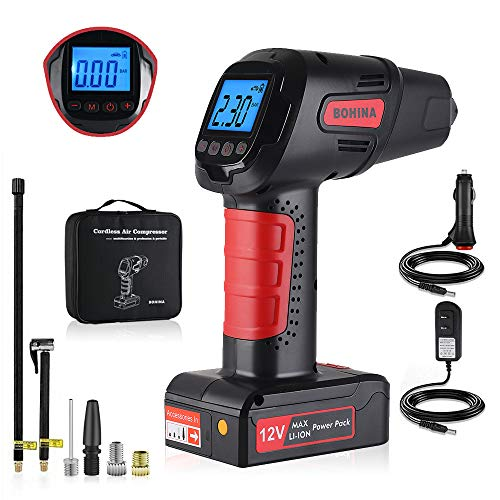 BOHINA Portable Air Compressor Pump Cordless Tire Inflator with Digital Display and LED Lights,Caution Light, Powerful Rechargeable Li-ion Battery Tire Inflator