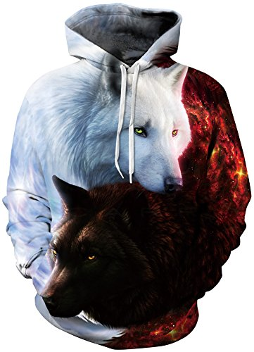 EmilyLe Men's Galaxy Outdoor Hoodies 3D Animal Print Pullover Long Sleeve Jumpers Graphic Sweatshirt (S/M, White & Red Wolf)